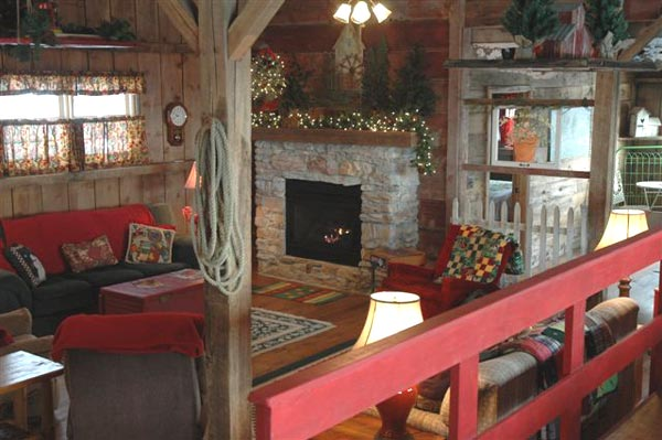 Fireplace in living room at Barn on the Bluff in Elkader, Iowa