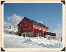 Barn on the Bluff in winter